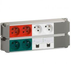 Bloc nourrice - 6x2P+T (vertes, blanches, rouges) + 2xRJ45 Cat. 6 FTP - à câbler
