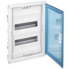 Coffret encastré - porte isolante galbée - 2 rangée - 24+4 mod - transparent