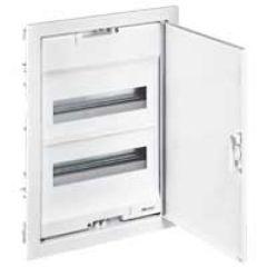 Coffret encastré - porte métal extra plate - 2 rangée - 24+4 mod-blanc RAL 9010