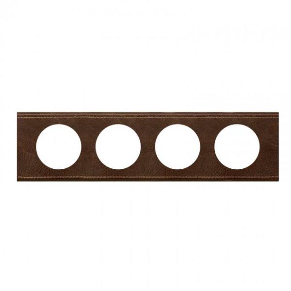 plaque c liane mati res 4 postes cuir brun textur achat vente legrand 069404. Black Bedroom Furniture Sets. Home Design Ideas