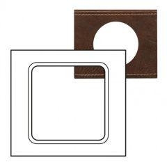 Plaque Céliane - Matières - grand format - Cuir Brun Texturé