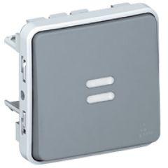 Poussoir NO lumineux Prog Plexo composable gris - 10 A