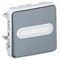 Poussoir NO+NF lumineux Prog Plexo composable gris - 10 A