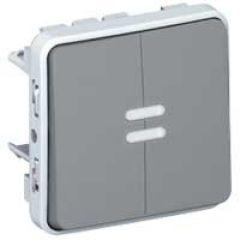 Double poussoir lumineux NO+NF Prog Plexo composable gris - 10 A