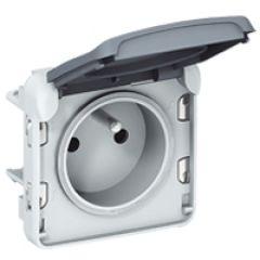 Prise 2P+T éclips de protection Prog Plexo composable gris - 16 A - 250 V