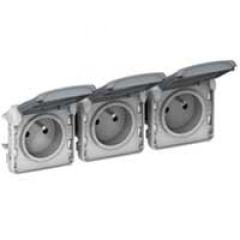 Prises 3x2P+T horizontal précâblées Prog Plexo composable gris - 16 A - 250 V
