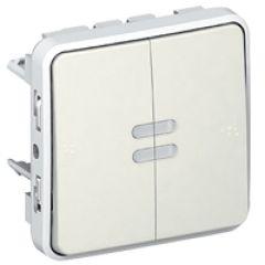 Va-et-vient lumineux + poussoir lumineux Prog Plexo composable blanc - 10 AX