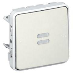 Poussoir NO lumineux Prog Plexo composable blanc - 10 A