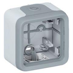 Boîtier à embouts Prog Plexo composable gris - 1 poste - 1 entrée, 2 sorties