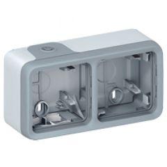Boîtier à embouts Prog Plexo composable gris - 2 postes horizontaux