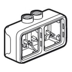 Boîtier presse-étoupe Prog Plexo composable gris - 2 postes horizontaux - ISO 20