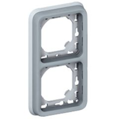 Support plaque - pour encastré Prog Plexo composable gris - 2 postes vert