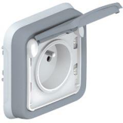 Prise 2P+T avec éclips de protection Prog Plexo complet encastré gris - 16 A