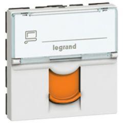 Prise RJ 45 Prog Mosaic - Cat. 6 - FTP - volet orange - 2 mod - Blanc - LCS²