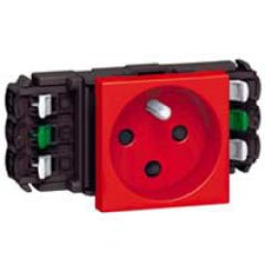 Prise Prog Mosaic pour goulottes DLP- 2P+T détrompage- auto- 2 modules- rouge