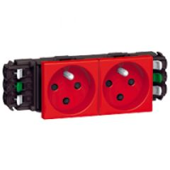 Prise Prog Mosaic pour goulottes DLP- 2x2P+T détrompage- auto- 4 modules- rouge