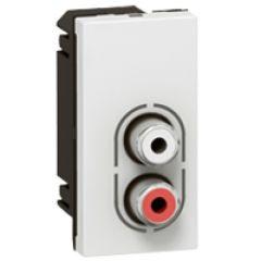 Prise audio Prog Mosaic - 2 RCA femelle audio - 1 mod - blanc