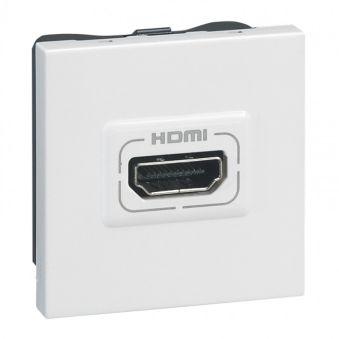 Prise audio vidéo Programme Mosaic - HDMI type A - à visser - 2 modules - blanc
