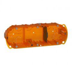 Boîte multimatériaux Batibox - 3 postes - 6/8 mod - vert/horiz - prof. 40