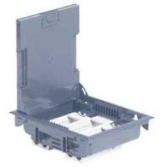 Boîte de sol haut. 75-105 - à équiper - 12 mod - couv inox gris RAL 7031