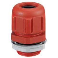 Presse-étoupe plastique- IP68- ISO 25- pour boîte Plexo incendie- rouge RAL 3000