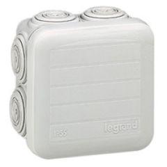 Bte carrée 65x65x40 étanche Plexo gris - embout (7) -IP55/IK07- 650°C