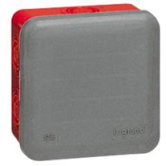Bte carrée 80x80x45 étanche Plexo gris/rouge - pour presse-étoupe ISO