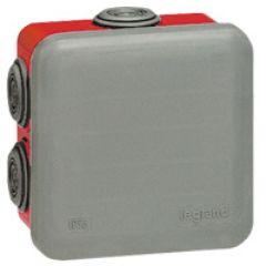 Bte carrée 80x80x45 étanche Plexo gris/rouge - embout (7) -IP55/IK07- 960°C