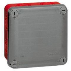 Bte carrée 105x105x55 étanche Plexo gris/rouge - pour presse-étoupe ISO