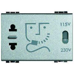 Prise rasoir Livinglight - 230 V~-115/230 V~ -  Tech - 3 modules