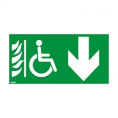 Etiquettes d'évacuation adhésives BAES-espace d'attente sécurisé+flèche bas