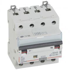 Disj diff DX³ 6000 -vis/vis- 4P 400V~25A - type Hpi - 30mA -10kA- courbe C - 4 M