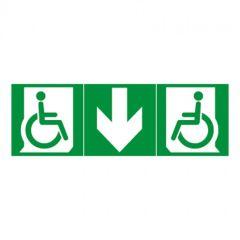 Kit de 3 étiquettes d'évacuation adhésives BAES-mobilité réduite+flèche bas