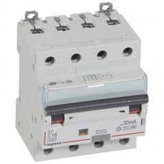 Disj diff DX³ 6000 -vis/vis- 4P 400V~16A - type Hpi - 30mA -10kA- courbe C - 4 M