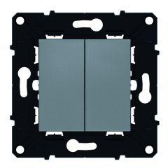 Poussoir 6 A - 250 V~ + va-et-vient 10 A Espace Evolution - Magnésium