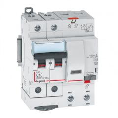 Disj diff DX³ 6000 -vis-2P-230/400V~-10A -typeAC -10mA-10kA- courbe C - 4 mod