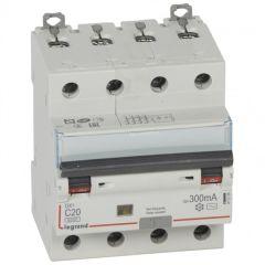 Disj diff DX³ 6000-vis/vis - 4P 400V~ -20A -type AC 300mA -10 kA courbe C - 4M