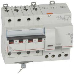 Disj diff DX³ 6000 -vis- 4P- 400V~ -40A-typeAC-30mA-10kA-courbe C - 7M