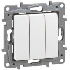 Interrupteur triple Niloé - 10 AX - 250 V~ - Pur