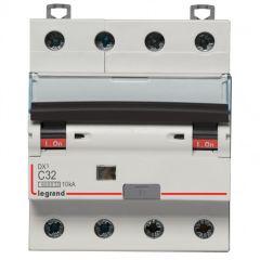 Disj diff DX³ 6000 -vis/auto-4P-400V~-32A-typeAC-300mA-10kA-courbe C - 5M