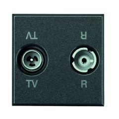 Prise TV - FM 2 modules - Axolute anthracite