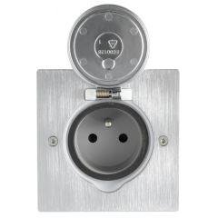 Platinum - Prise de sol carrée 2P+T 16A 250 V - à éclips - connexion auto - inox