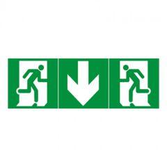 Kit de 3 étiquettes d'évacuation adhésives BAES - flèche vers le bas