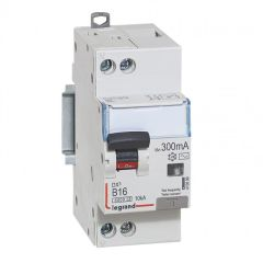 Disj diff DX³ 6000 10 kA - U+N 230V~- type AC 300mA - 16 A courbe B - 2 modules