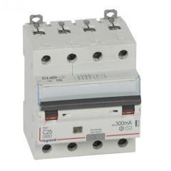 Disj diff DX³ 6000-vis/vis - 4P 400V~ -25A -type AC 300mA -10 kA courbe C - 4M