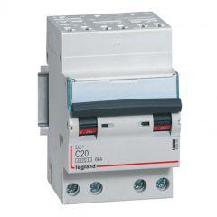 Disjoncteur DX³ 4500 - auto/vis - 4P - 400 V~ - 20A - 6kA - courbe C - 3M