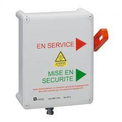 Coffret polycarbonate PV de SECURITE POMPIER - classe II - 600V-25A - pré-câblé