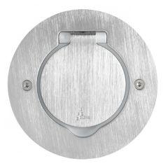 Platinum - Platine ronde simple poste à équiper - IP 44 / IK 08 - inox brossé