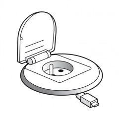 Module bureau encastré Prog Mosaic - 1x2P+T/chargeur USB/enrouleur RJ45 - blanc