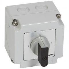 Commutateur 3 directions avec arrêt - PR 12 - 1P - 3 contacts - boîtier 76x76 mm
